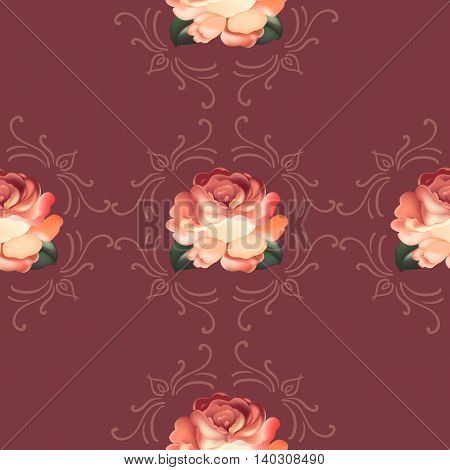 Seamless red floral pattern in russian traditional style. vector illustration.