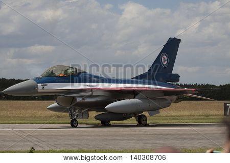 VOLKEL, NETHERLANDS - JUNE 15:Parking fighter jet during the Royal Netherlands Air Force Day
