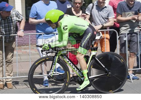 Apeldoorn, Holland, May 6, 2016:Cyclist of team Cannondale during the prologue of the Giro the italia with spectators along the course