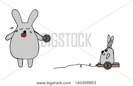A rabbit cries from the broken toy with a wheel in a paw isolated on the white background. For adult and kids coloring book isolated on the white background.