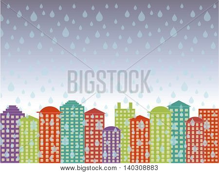 City series background. Colorful buildings, blue cloudy sky, rain in the town, vector illustration