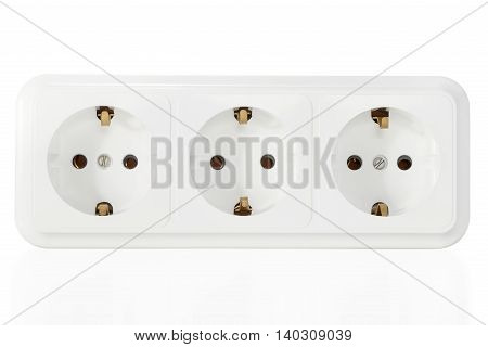 Three electrical outlets with ground isolated on white background