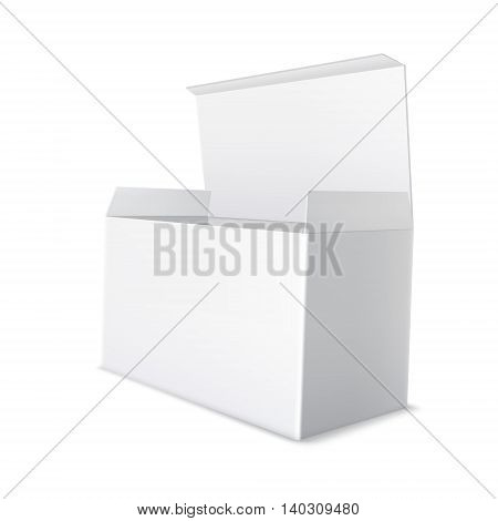Realistic white cardboard package. Open, empty blank box. Packaging for products. Retail mock up.