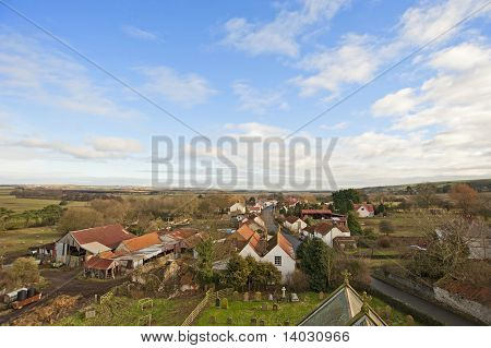 View Over A Farming Village In The Country
