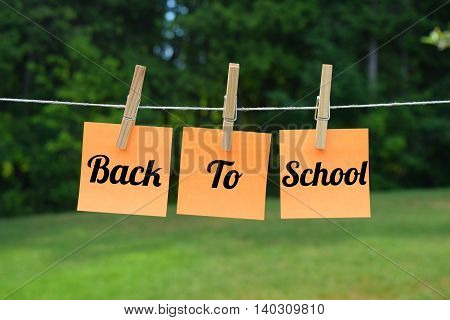 back to school message on 3 sticky notes
