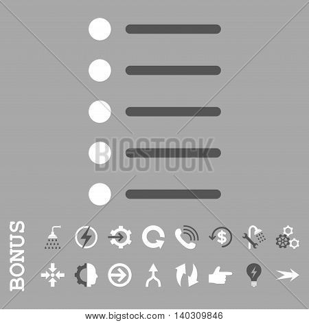 Items glyph bicolor icon. Image style is a flat iconic symbol, dark gray and white colors, silver background.