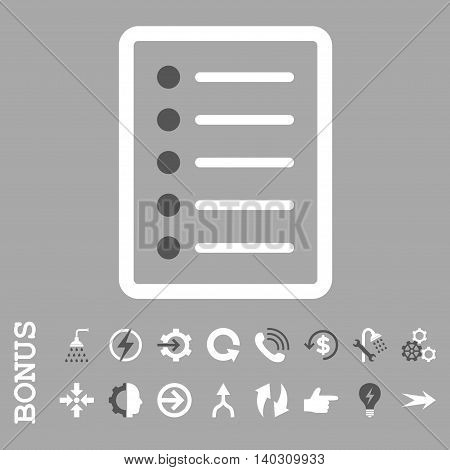 List Page glyph bicolor icon. Image style is a flat pictogram symbol, dark gray and white colors, silver background.