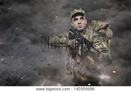 Special Forces Soldier Man Hold Machine Gun On A Dark Background