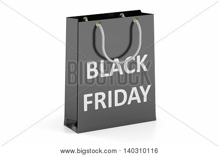 Black Friday concept shopping bag. 3D rendering isolated on white background