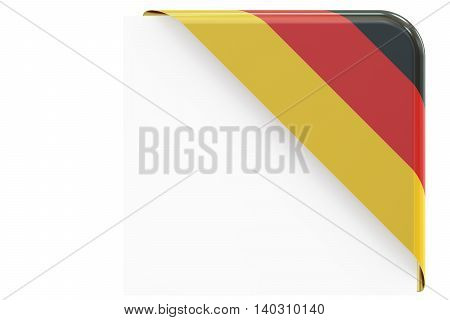 German corner button label. 3D rendering isolated on white background