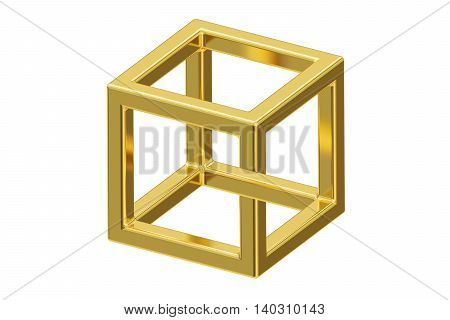 Impossible cube optical illusion 3D rendering isolated on white background