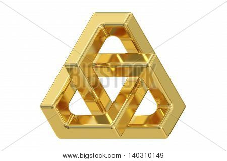 Impossible triangle optical illusion 3D rendering isolated on white background