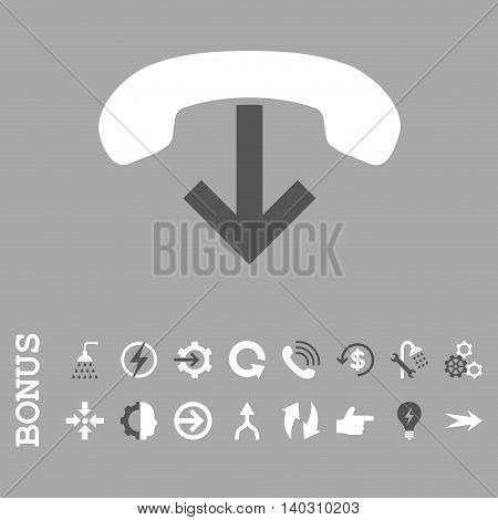 Phone Hang Up glyph bicolor icon. Image style is a flat iconic symbol, dark gray and white colors, silver background.