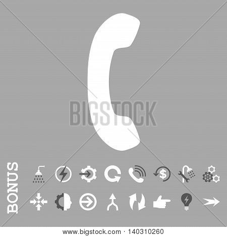 Phone Receiver glyph bicolor icon. Image style is a flat iconic symbol, dark gray and white colors, silver background.