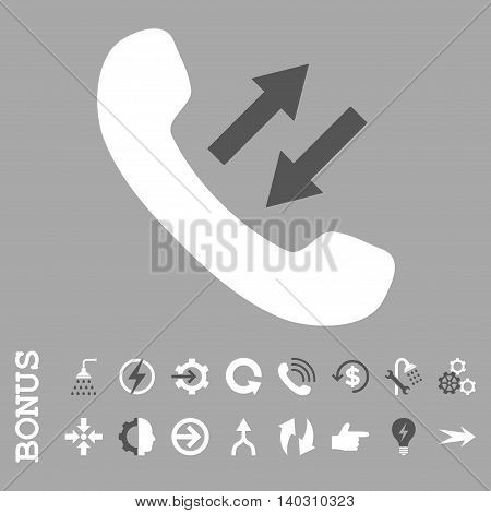 Phone Talking glyph bicolor icon. Image style is a flat iconic symbol, dark gray and white colors, silver background.