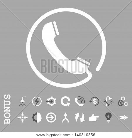 Phone glyph bicolor icon. Image style is a flat iconic symbol, dark gray and white colors, silver background.