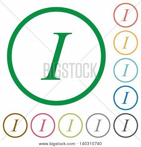 Italic font type color round outlined flat icons
