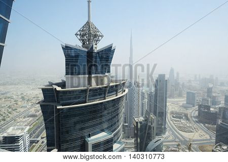 The view on Dubai cityscape United Arab Emirates