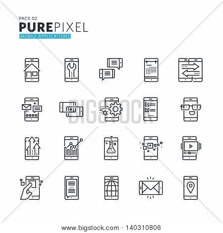 Set of modern thin line pixel perfect icons of mobile apps and services. Premium quality icon collection for web design, mobile app, graphic design.