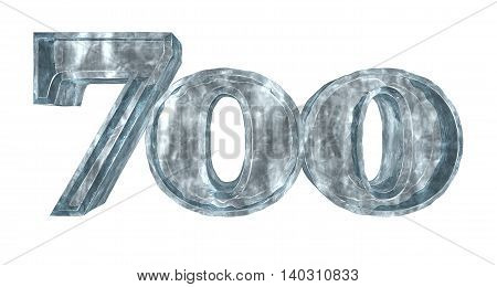 frozen seven hundred on white background - 3d rendering