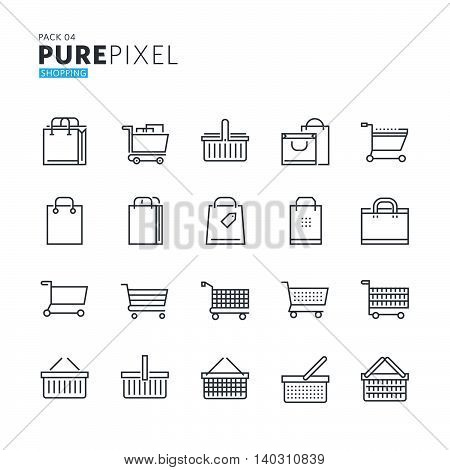 Set of modern thin line pixel perfect icons of shopping, e-commerce. Premium quality icon collection for web design, mobile app, graphic design.