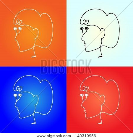 Vector headphone drawn looks like a women face