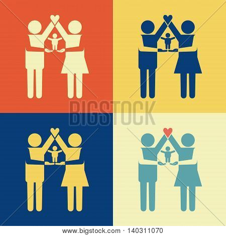 Parents icon standing together with kid on their arms. Parents arms forming house with heart on the top