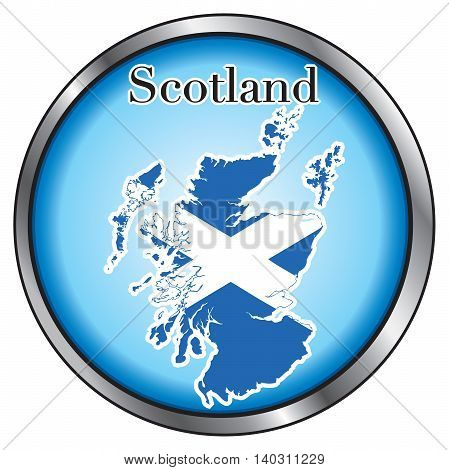 Vector Illustration for Scotland Round Button Flag Map.
