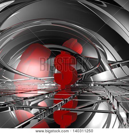 red dollar symbol in futuristic space - 3d rendering