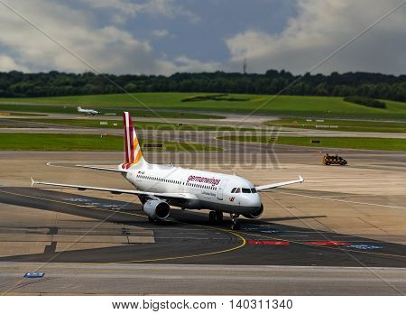 HAMBURG; GERMANY; JULY 27 2016: Aircraft of germanwings in the international Hamburg airport in Fuhlsbuettel the oldest and fifth largest airport in Germany