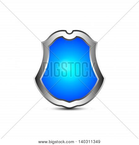 Vector realistic blue shield with  source of light inside
