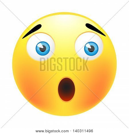 Surprised emoticon.Isolated vector illustration on white background.