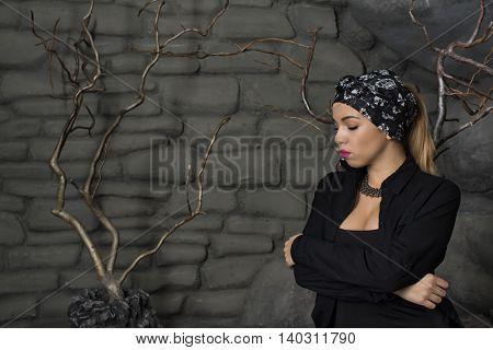 beautiful blonde girl in the photo studio