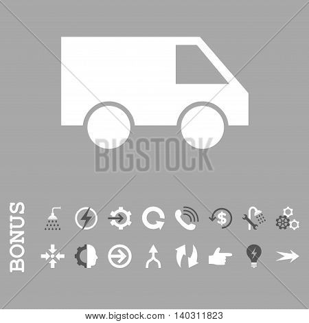 Van glyph bicolor icon. Image style is a flat pictogram symbol, dark gray and white colors, silver background.