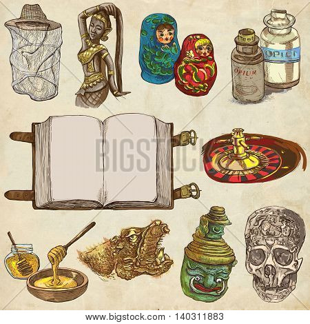 OBJECTS. Different things and art objects. Collection of hand drawn illustrations. Pack of full sized hand drawings. Set of freehand sketches. Colored line art technique. Old paper background.