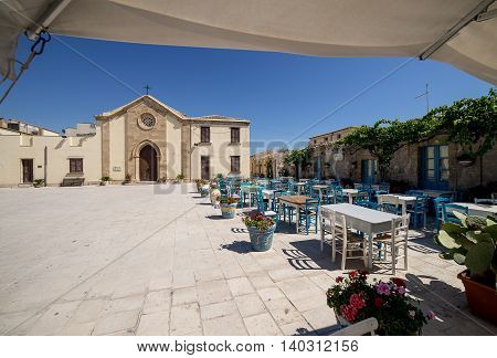 Main Square In Marzamemi, Sicily.