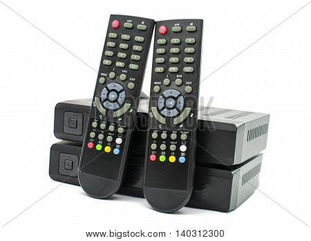 Digital TV electronics box on white background