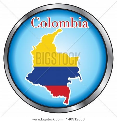 Vector Illustration for Colombia Round Button Flag Map.