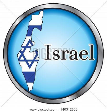Vector Illustration for Israel Round Button Flag Map..
