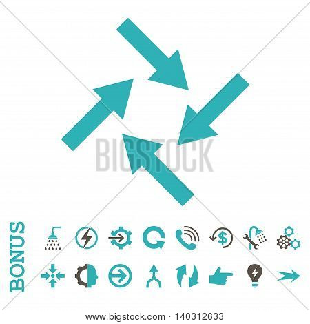 Centripetal Arrows glyph bicolor icon. Image style is a flat iconic symbol, grey and cyan colors, white background.