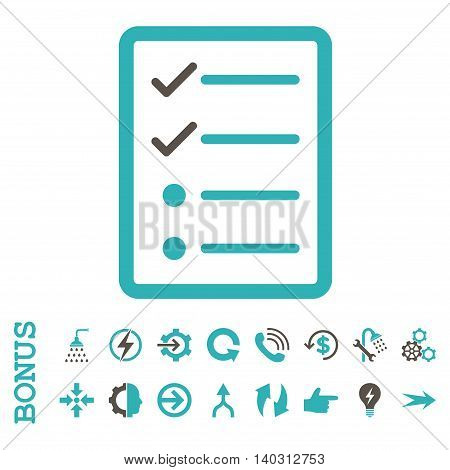 Checklist Page glyph bicolor icon. Image style is a flat iconic symbol, grey and cyan colors, white background.