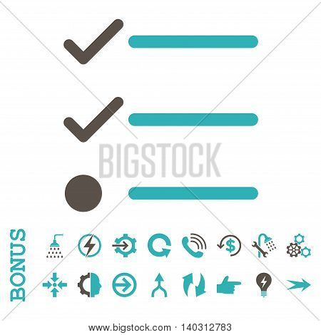 Checklist glyph bicolor icon. Image style is a flat iconic symbol, grey and cyan colors, white background.