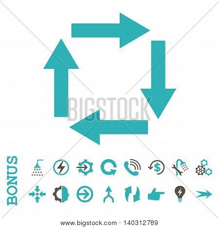 Circulation Arrows glyph bicolor icon. Image style is a flat iconic symbol, grey and cyan colors, white background.