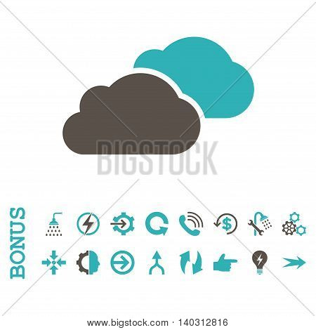 Clouds glyph bicolor icon. Image style is a flat iconic symbol, grey and cyan colors, white background.