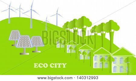 Eco series. Eco city background. White buildings, green tree, hills, windmills, solar panels on white, vector illustration