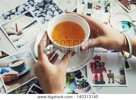 Woman Drinking Tea Photos Memory Concept