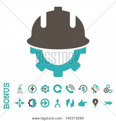 Development Helmet glyph bicolor icon. Image style is a flat iconic symbol, grey and cyan colors, white background.