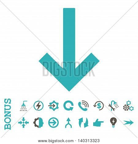 Down Arrow glyph bicolor icon. Image style is a flat pictogram symbol, grey and cyan colors, white background.