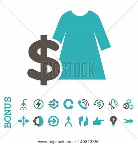 Dress Price glyph bicolor icon. Image style is a flat iconic symbol, grey and cyan colors, white background.