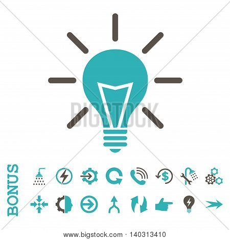 Electric Light glyph bicolor icon. Image style is a flat pictogram symbol, grey and cyan colors, white background.